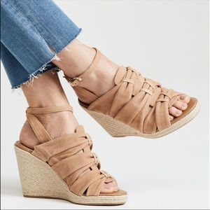 """New with box Sam Edelman """"Awan"""" camel suede wedges"""